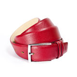 Red leather belt isolated on a white studio background Royalty Free Stock Image