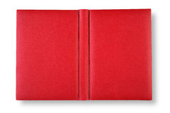 Red leather book cover with spin. Royalty Free Stock Photo