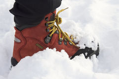 Red leather boot royalty free stock photography