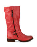 Red leather boots Royalty Free Stock Images