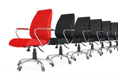 Red Leather Boss Office Chair as Leader in row of Black Chairs. Stock Photography