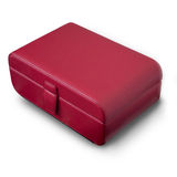 Red leather box. Red jewelry leather box on white floor Royalty Free Stock Images