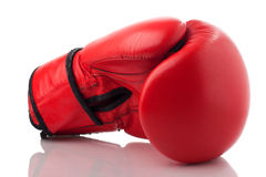 Red leather boxing glove Royalty Free Stock Image