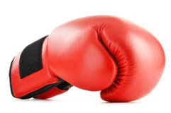 Red leather boxing glove on white. Background Royalty Free Stock Image