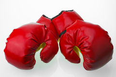 Red leather boxing gloves  , Boxing gloves background, popular sport for fighter Stock Image