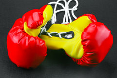 Red leather boxing gloves  , Boxing gloves background, popular sport for fighter Royalty Free Stock Photos