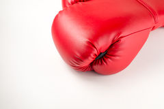 Red leather boxing gloves on white isolated background Stock Photography