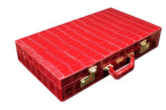 Red leather briefcase Stock Photography
