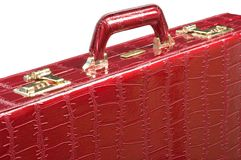 Red leather briefcase Royalty Free Stock Images