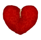 Red leather broken heart Stock Image