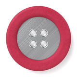 Leather & Metal Button. Red leather & brushed metal button isolated on white background. Computer generated image with clipping path Royalty Free Stock Photos