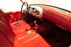 Red Leather Car Interior Vintage royalty free stock images