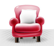 Red leather chair with a white pillow, realistic vector Royalty Free Stock Photo
