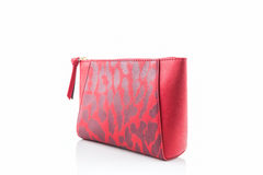 Red leather cosmetic bag. Stock Photo