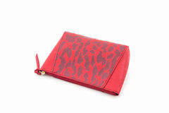 Red leather cosmetic bag. Royalty Free Stock Photography