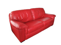 Red Leather Couch. Lovely comfortable Red leather couch isolated on white Stock Images