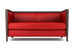 Red leather couch isolated on white background Stock Images