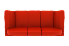 Red leather couch isolated on white. top view stock illustration