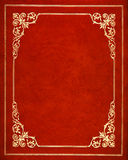 Red leather cover. Red and golden leather book cover Stock Photography