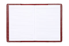 Red leather cover notebook. Isolated on white background Stock Photo