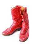 Red leather cowboy boots Stock Photo