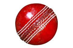 Red leather cricket ball isolated clipping path. Royalty Free Stock Image