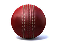 Cricket Ball Front. An red leather cricket ball isolated on a white background Stock Photo