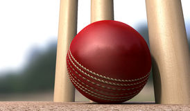 Cricket Ball At Base Of Wickets Royalty Free Stock Photos