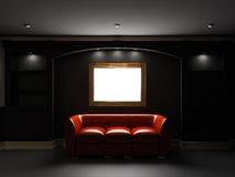 Red leather divan and bookcase in dark room. Red leather divan and bookcase with empty frame on the wall in dark room Royalty Free Stock Photography
