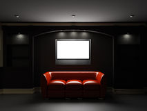 Red leather divan and bookcase with LCD tv. Red leather divan with LCD tv in dark room Stock Photos