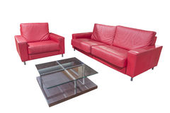 Red leather furniture set and a table Royalty Free Stock Image