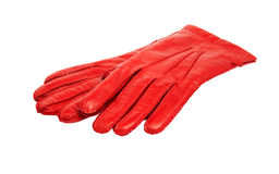 Red leather gloves Royalty Free Stock Photo