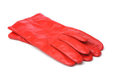 Red leather gloves. A pair of red leather gloves on white background Royalty Free Stock Photography