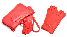 Red leather gloves and bag Stock Photography