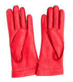 Red leather gloves, isolated Royalty Free Stock Image