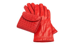 Red leather gloves and purse. Isolated on white with clipping path Royalty Free Stock Image