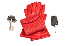 Red leather gloves, purse and keys Royalty Free Stock Photo