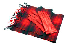 Red leather gloves and tartan scarf on white with Stock Images