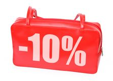 Red leather handbag with -10% sign Stock Image
