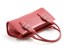 Red leather handbag Stock Photography