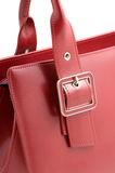 Red leather handbag Stock Images