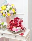 Red Leather Handbag as a wedding gift Stock Photos