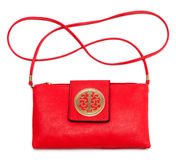 Red leather handbag Stock Image