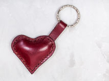 Red leather heart shape keychain Stock Photo