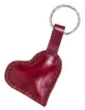 Red leather heart shape trinket isolated Royalty Free Stock Photo