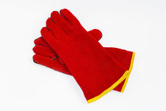 Red leather heat-resistant Safety Gloves for welders. Gloves for welding. Chaps, heat-resistant fire. Gloves leggings resistant, welding and heavy mechanical Royalty Free Stock Photography
