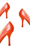 Red Leather High Heel Shoes Stock Images