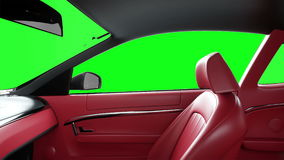 Red leather interior of luxury black sport car. Green screen footage. realistic 4K animation.
