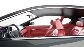 Red leather interior of luxury black sport car . isolate 3d rendering. stock illustration
