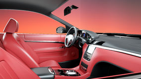 Red leather interior of luxury black sport car . realistic 3d rendering. Royalty Free Stock Images